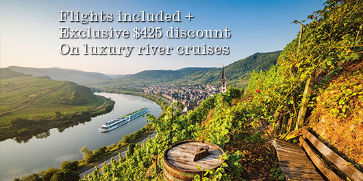 Flights + exclusive $425*pp discount on luxury river cruises