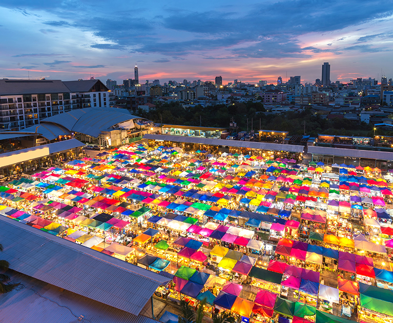 Return business class airfares to Bangkok: