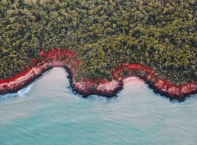 Aerial view of Rainbow Beach, Tiwi Islands. Image credit: Tourism NT/Elise Cook